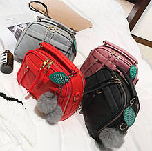 Мини сумочка сумка клатч с меховым брелком