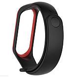 Силиконовый ремешок для фитнес-браслета Xiaomi Mi Band 4 - Black&Red, фото 2