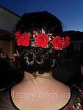 Червоні троянди з тканини на золотій основі, фото 2