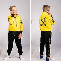 Спортивный костюм детский в стиле OFF WHITE black-yellow | весенний осенний