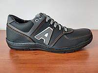 Чоловічі кросівки чорні з сірим зручні прошиті ( код 812 ) 42