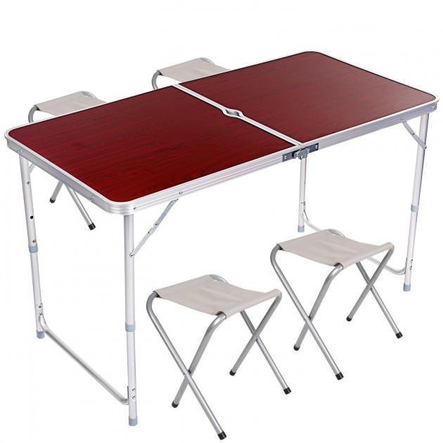 Стол для пикника раскладной со стульями Folding Table 120х60х55/60/70 см (3 режима высоты) Коричневый