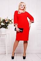 Эффектное  женское платье  украшенное жемчугом и камнями  батал с 50 по 58 размер