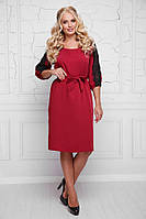 Женское стильное платье под пояс батал с 48 по 58 размер