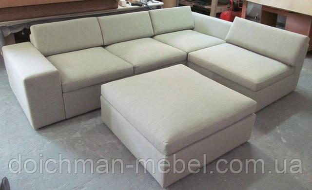 Модульный гостинный комплект диван с пуфиком