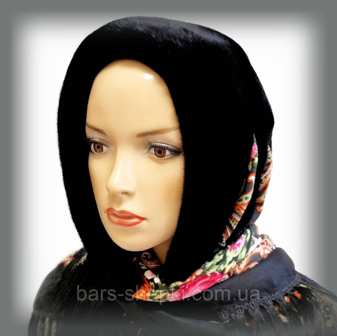 Павлопосадский платок из норки (черный)