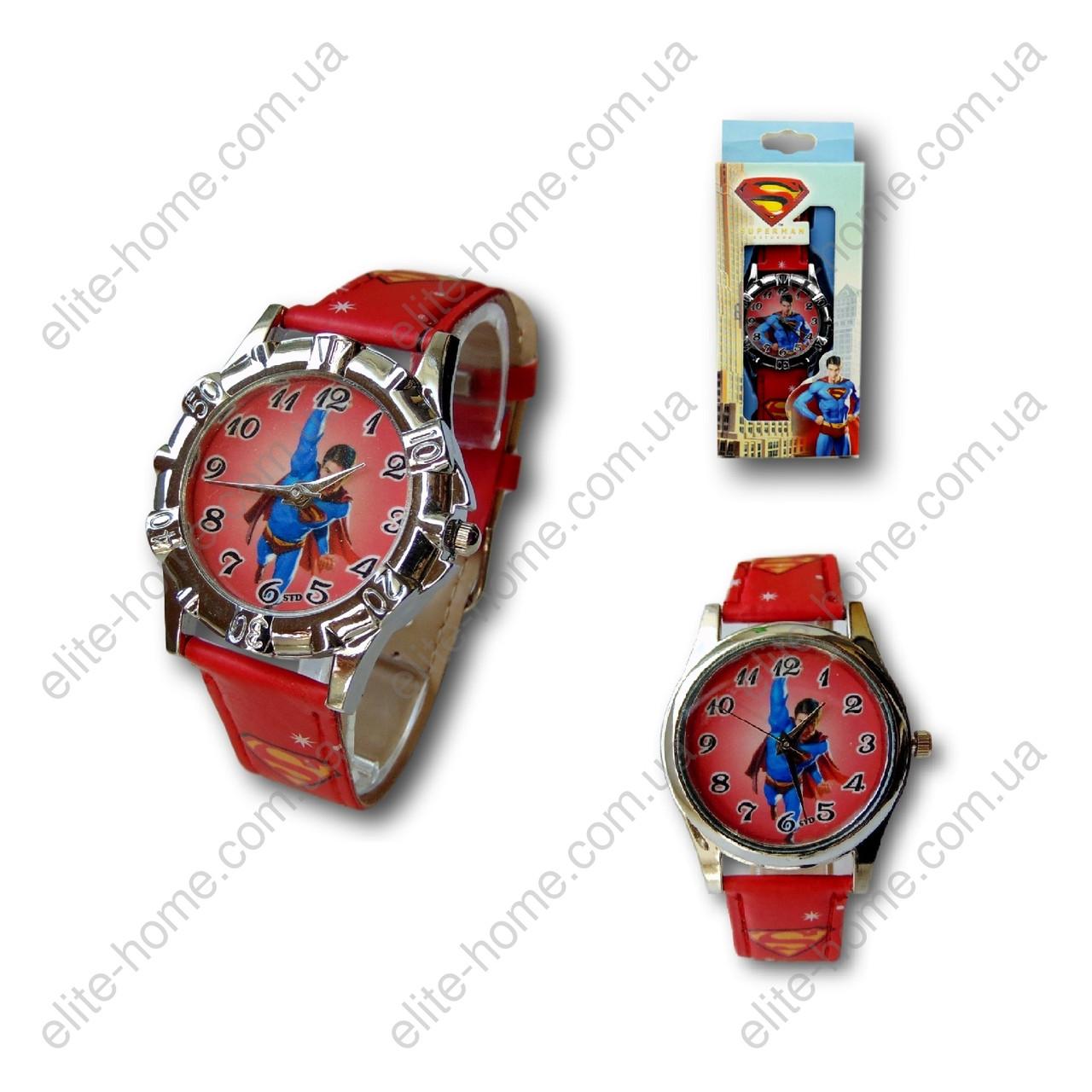 """Дитячі наручні годинники """"Супермен (Superman)"""" в подарунковій упаковці (червоний ремінець)"""