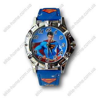 """Дитячі наручні годинники """"Супермен (Superman)"""" в подарунковій упаковці (синій ремінець), фото 2"""