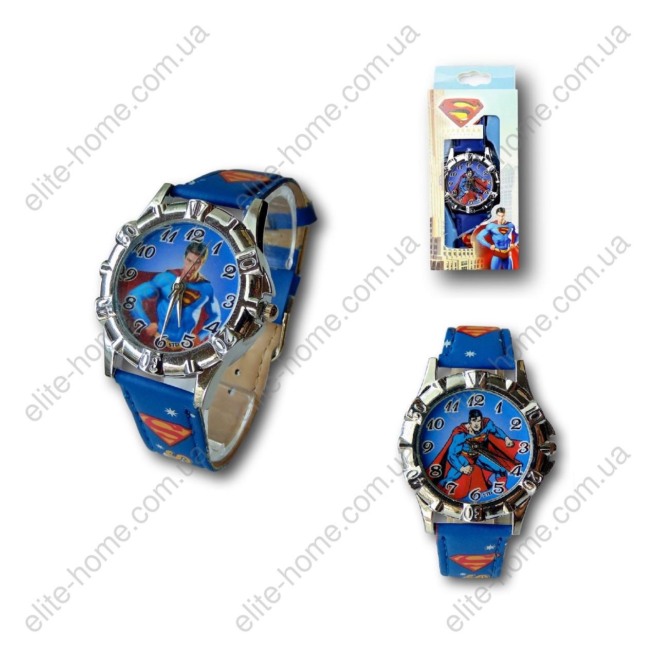 """Дитячі наручні годинники """"Супермен (Superman)"""" в подарунковій упаковці (синій ремінець)"""