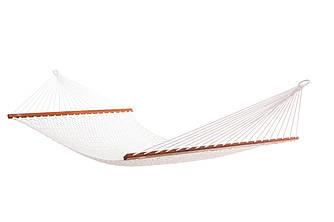 Гамак плетеный белого цвета Arlio Classic. Одноместный с планкой 3м х 0.92м