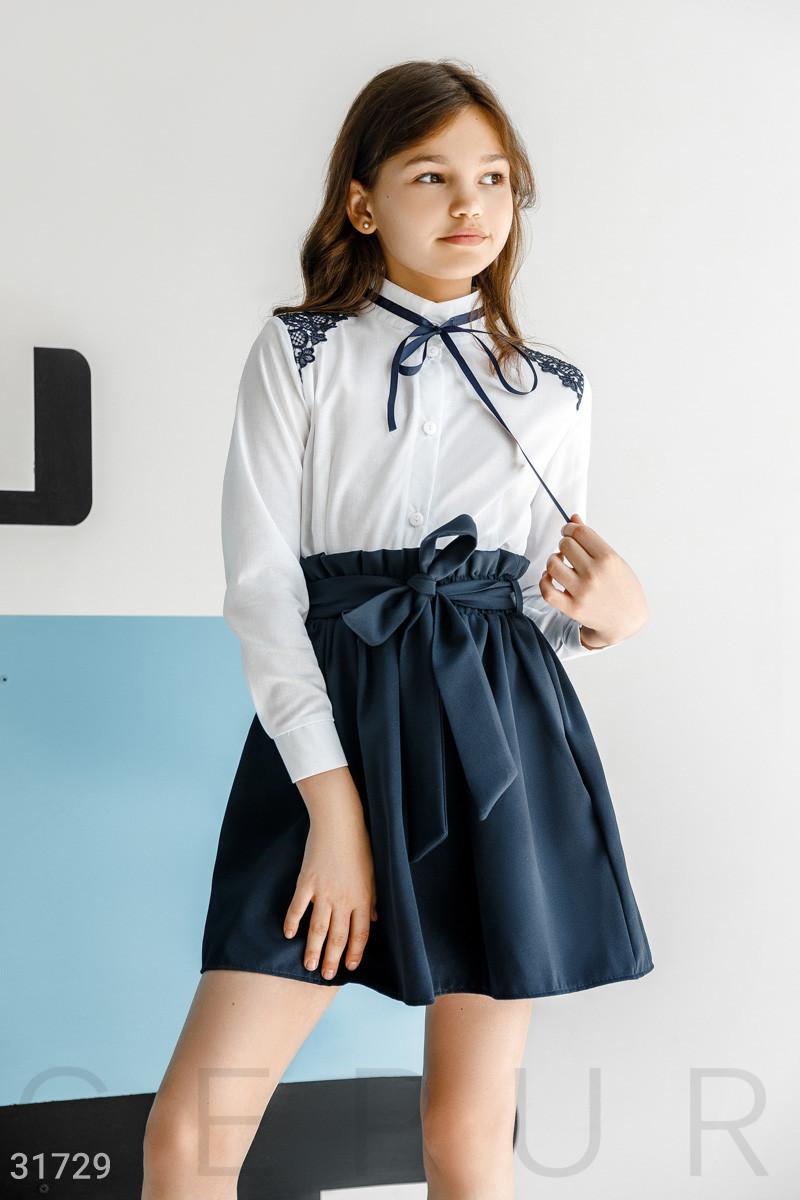 Объемная школьная юбка в легкую складку  на девочку