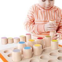 Развивающая игра для детей от 2 лет - набор деревянных цветных цилиндров из каучукового дерева