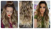 Волосы трессы на заколках на вид как натуральные 8 прядей длина 45см №10т613 омбре