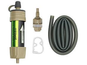 Туристический фильтр для воды miniwell L630 коричневый. Портативный фильтр для очистки воды. 0.1 микрон.