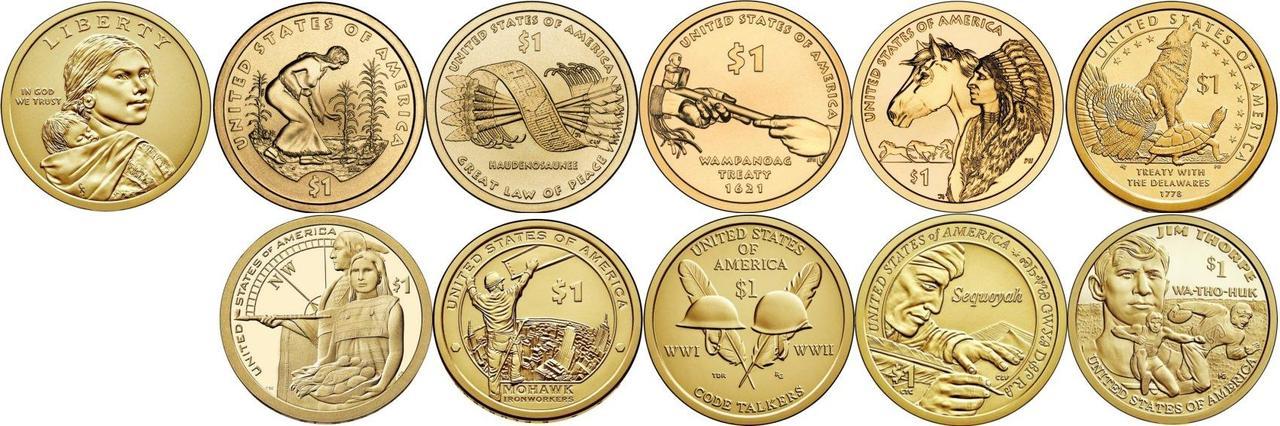 США 1 доллар Сакагавея 2000-2019, 12 монет