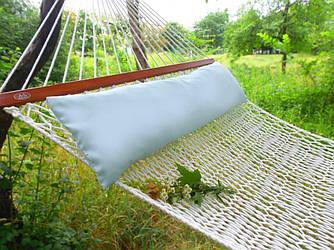 Подушка для гамака голубого цвета метровая из натуральной ткани