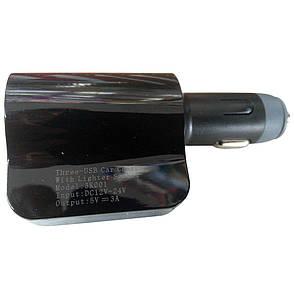Автомобильный FM модулятор HC-3  + ПОДАРОК:Нескользящий коврик для телефона. Размер 11*9 см, фото 2