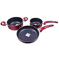 Набор посуды: ковшик, кастрюля, сковородка, мраморное покрытие KR-CS1101