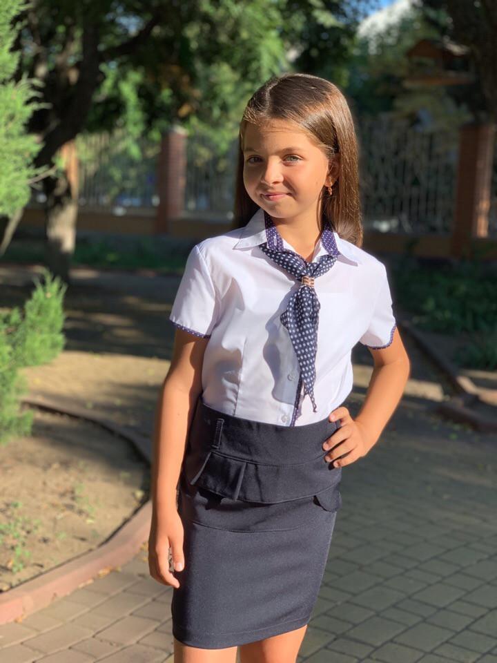 Школьная блузка отделка горох штапель, галстук шифон 122-140 см