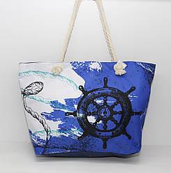 Женская тканевая пляжная сумка с канатными ручками и ярким рисунком морской тематики