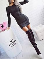 Жіноча міні сукня з ангори меланж, довгий рукав, 9 кольорів, (40-46), фото 1