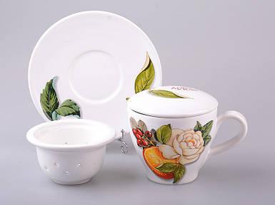 Чашка заварочная с блюдцем и фильтром Nuova Cer 350 мл 612-150 чашка с заварничком