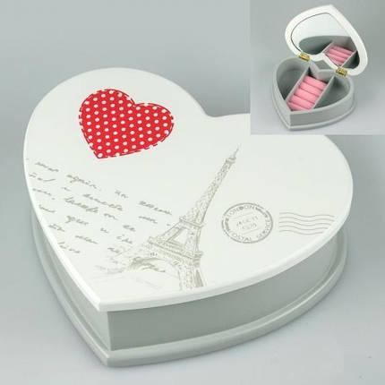 Деревянная шкатулка белая 19х16х6 cм 037ТР кейс для украшений для прикрас сердце сердечко, фото 2