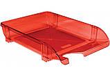 Лоток для паперів горизонтальний пластик, яскраво-червоний, фото 2