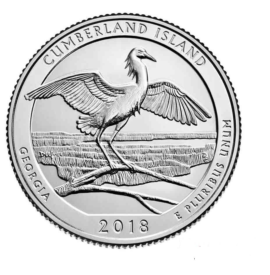 25 центов 44 - й парк США Национальное побережье острова Кумберленд