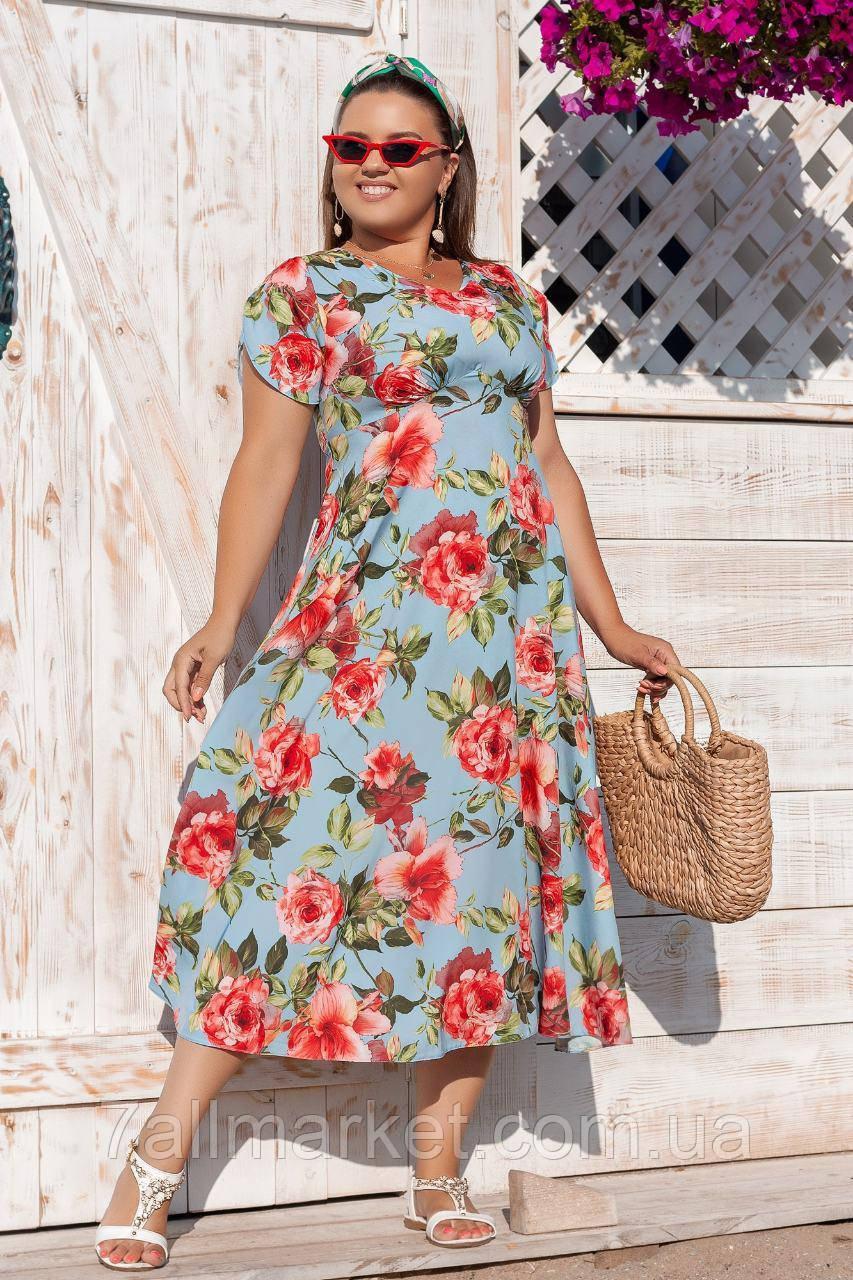 """Платье женское полубатальное с цветами, размеры 48-50 (2цв) """"VERA"""" купить недорого от прямого поставщика"""