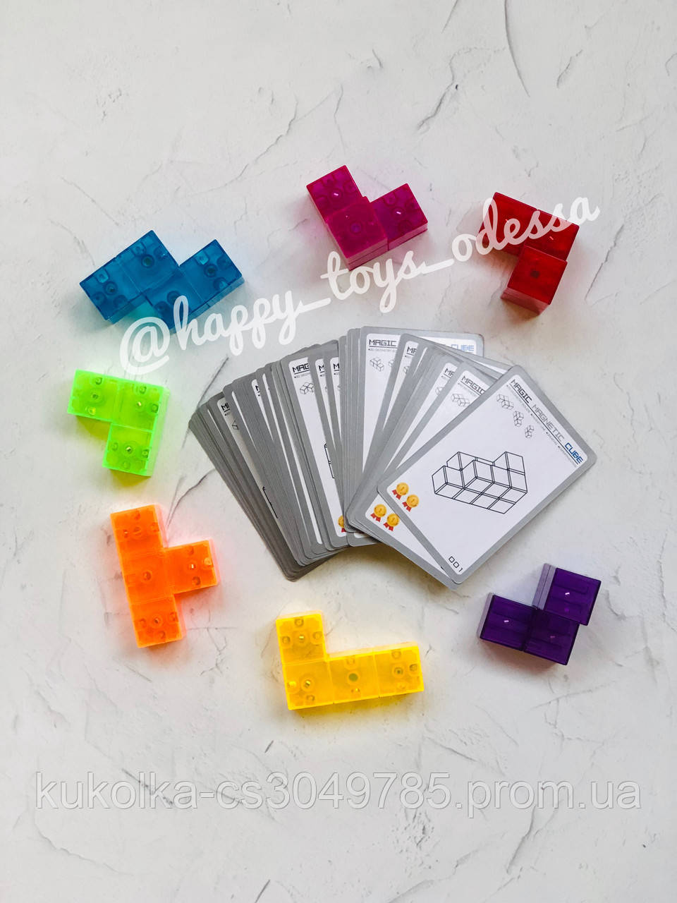 Магнитный тетрис-куб ( 54 карточки с заданиями ), фото 1