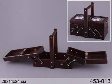 Шкатулка для рукоделия деревянная Lefard 28х14х24 см кейс шкатулка органайзер для ниток дерево