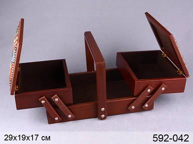 Шкатулка для рукоделия деревянная 29х19х17 см кейс шкатулка органайзер для ниток из дерева