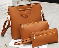 Набор женских сумок 3 в 1: кошелек, клатч и большая сумка Саt с ручками