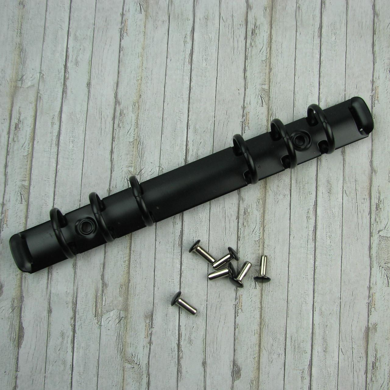 Кольцевые механизмы А6 черные 1шт на 6 колец 171мм с креплением