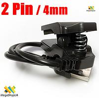Зарядный USB кабель прищепка 2Pin/4mm для Smart Bracelet. Кабель для зарядки фитнес-трекера