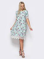 Модное женское платье с кружевом мятного цвета р.44