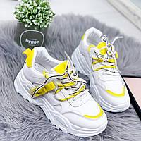 Кроссовки женские Offer белый + желтый 8082, фото 1