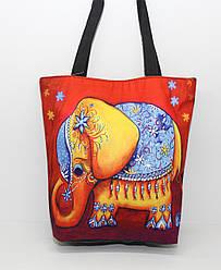 Женская пляжная сумка малого размера из мягкого текстиля с ярким рисунком слоника