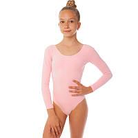 Купальник гимнастический с длинным рукавом из хлопка Lingo CO-1253-P (р-р S-XL, рост 110-165см, розовый)