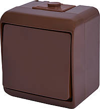 Выключатель 1-клавишный IP54 ETI VHE-1-KR коричневый 10А HERMETICS 4668040 влагозащищенный внешний   наружный