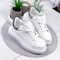 Кроссовки женские Queenee белые + питон 8071, фото 1