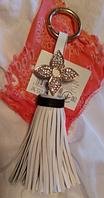 Брелок на сумку аксессуар хвост белый с цветком на кольце