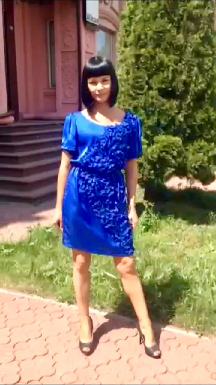 Платье женское летнее легкое молодежное шелк синее Picati