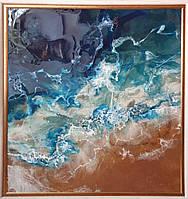 Синее море на песке. Размер 100х105 см. Техника епоксидная смола., фото 1