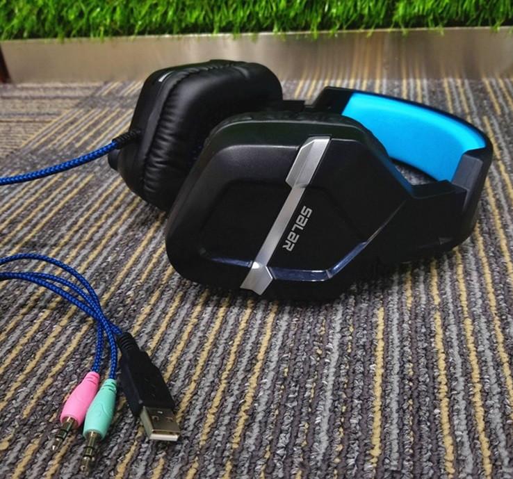 Игровые наушники с микрофоном USB + 3,5 мм. геймерские для компьютера ПК с подсветкой Salar KX901