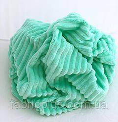 Плюшевая ткань Minky Stripes мятного цвета (шарпей) 160 см