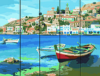 Картина по номерам на дереве Лодки у причала  Rainbow Art