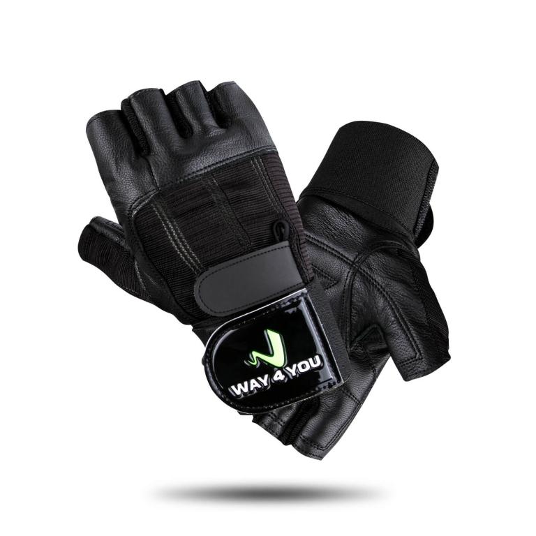 Перчатки для тренажерного зала с напульсником Way4you-Black