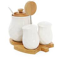 Набор для специй: солонка, перечница и сахарница с ложкой на бамбуковой подставке